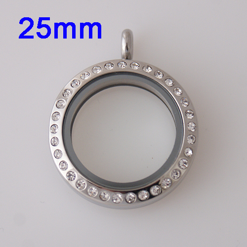 Medium Stainless Steel Locket - 25MM - Silver & CZ Accents