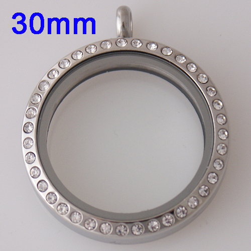 Large Stainless Steel Locket - 30MM - Silver & Crystal Accent