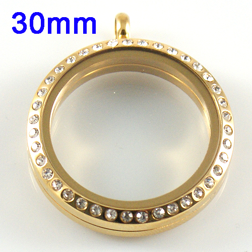 Large Stainless Steel Locket - 30MM - Gold & CZ