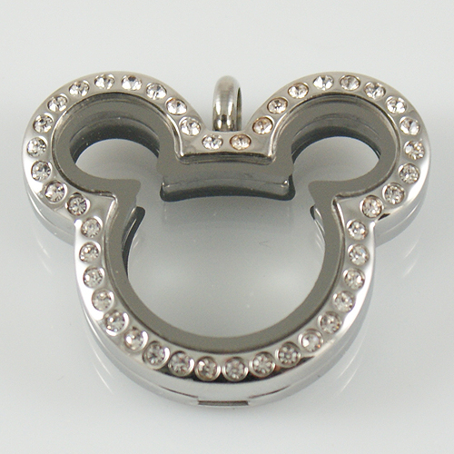 Large Stainless Steel Mouse Locket - Silver & CZ