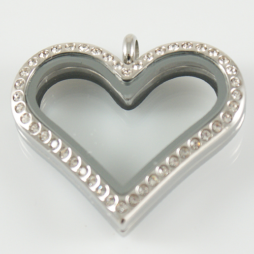 Large Stainless Steel Heart Locket - 33MM - Silver & CZ