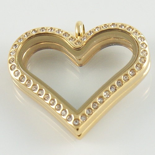 Large Stainless Steel Heart Locket - 33MM - Gold & CZ