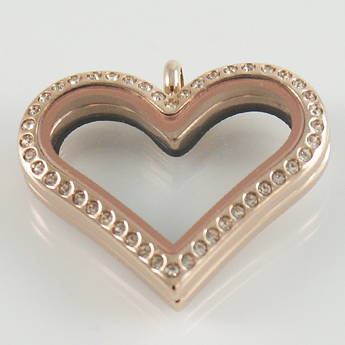 Large Stainless Steel Heart Locket - 33MM - Rose Gold & CZ