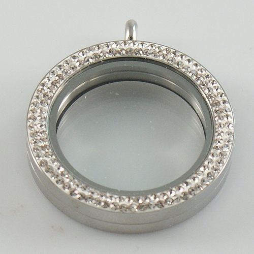 Large Stainless Steel Heart Locket - 34MM - Double Rim CZ