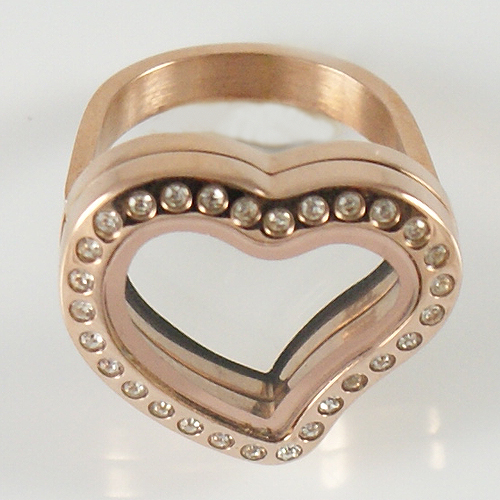 Memory Locket Stainless Steel CZ Heart Ring - Size 6 Rose Gold