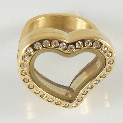 Memory Locket Stainless Steel CZ Heart Ring - Size 6 Gold
