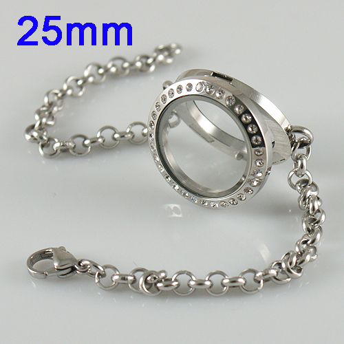 Memory Locket Stainless Lobster - 25mm Silver & CZ Medium