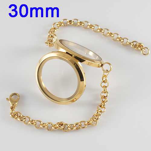 Memory Locket Stainless Lobster Bracelet - Gold CZ 30mm