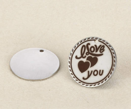 20MM Quotes Stainless Steel Pendant - I Love You