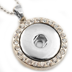 Snap Jewelry Pendant & Stainless Ball Chain- Rhinestone Halo 32""