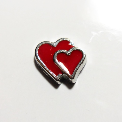 Memory Locket Charms Heart Double Red Silver