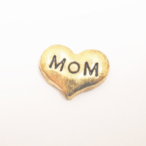 Memory Locket Charms Heart Mom Gold