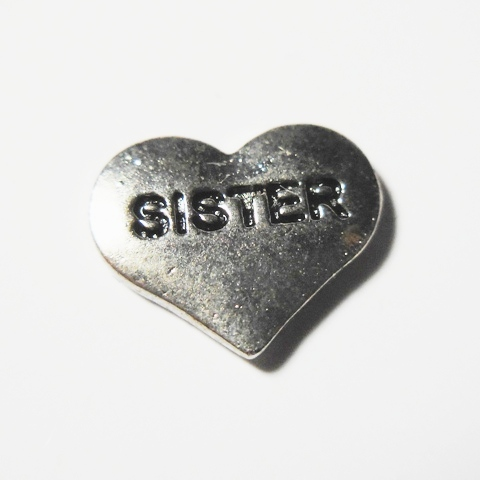 Memory Locket Charms Heart Sister Silver