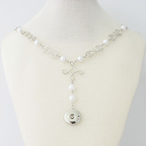 Snap Jewelry Lariat Necklace - Pearl Drop 20""