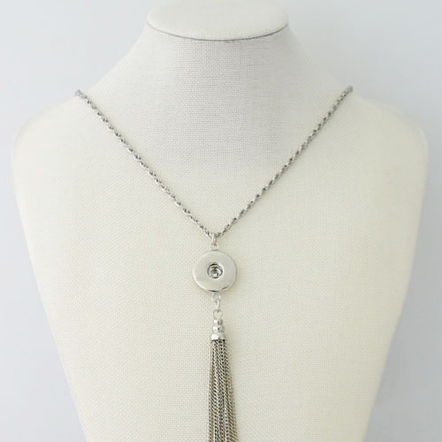 "Snap Jewelry Lariat Necklace - Tassle 36"" Stainless Chain"