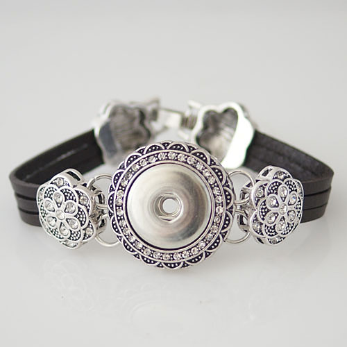 Snap Jewelry Bracelet Leather - Flower Black Leather