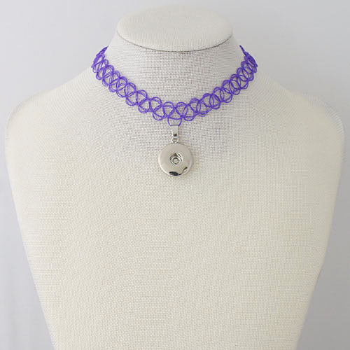 Snap Jewelry Choker Stretch Necklaces - Purple