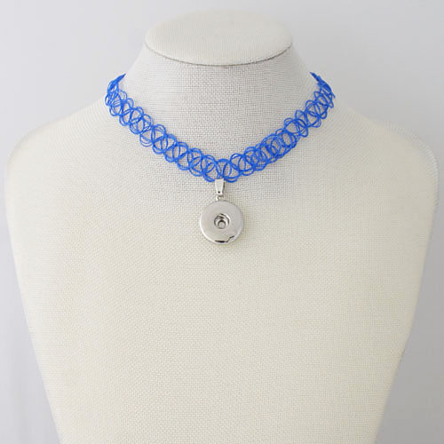 Snap Jewelry Choker Stretch Necklaces - Blue