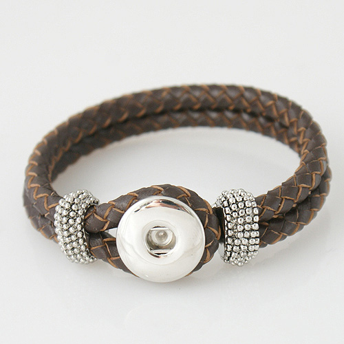 Snap Jewelry Bracelet Leather Hook & Loop - Brown