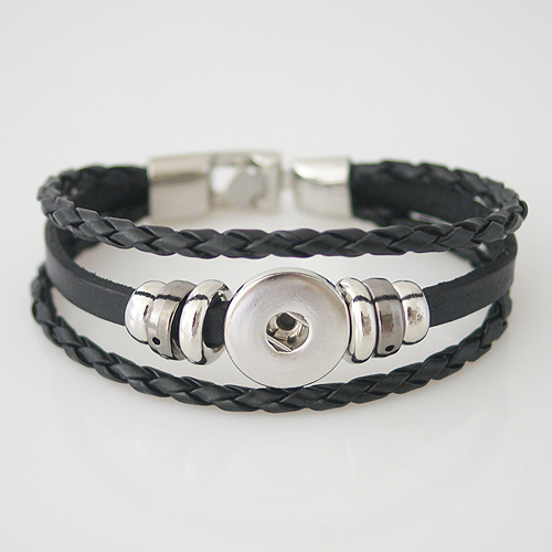 Snap Jewelry Bracelet Leather - Three Strand - Clasp Hook Black