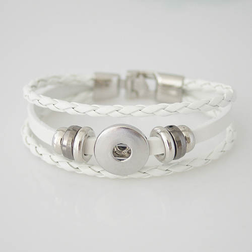 Snap Jewelry Bracelet Leather - Three Strand - Clasp Hook White