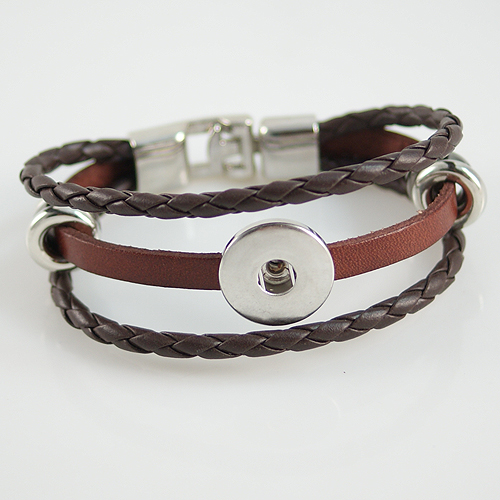 Snap Jewelry Bracelet Leather - Three Strand - Clasp Hook Brown