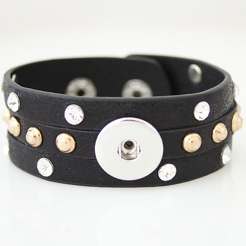 Snap Jewelry Bracelet Triple PU Black - Silver and Gold Studs