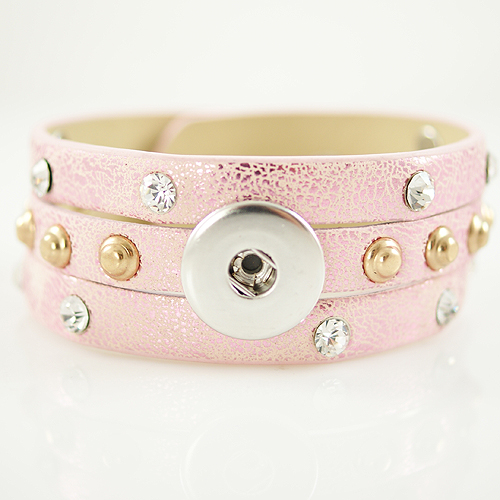 Snap Jewelry Bracelet Triple PU Pink - Silver and Gold Studs
