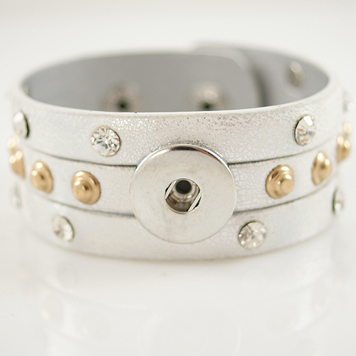 Snap Jewelry Bracelet Triple PU Silver - Silver and Gold Studs
