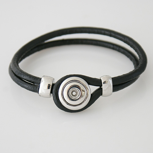Mini Snap 12mm - Bracelet Leather Hook and Loop Black