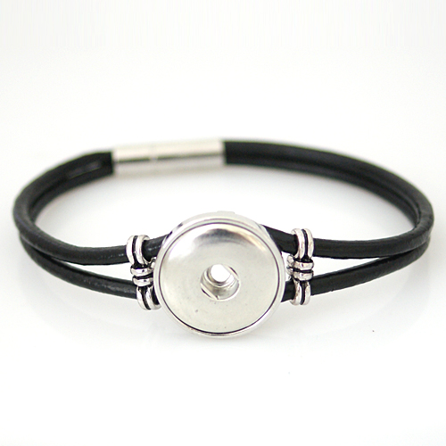 Snap Jewelry Magnetic Leather Bracelet - Black