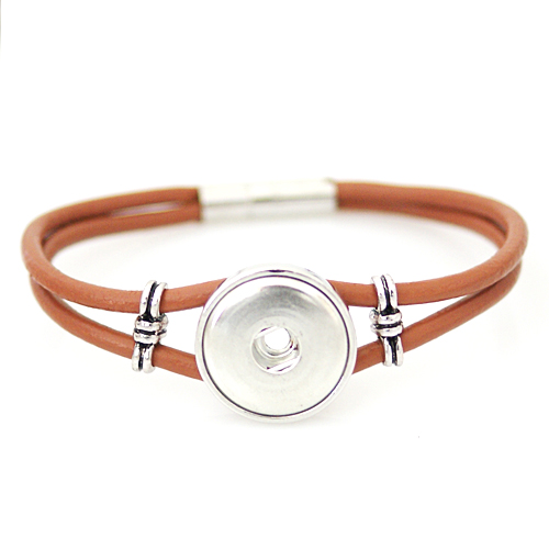 Snap Jewelry Magnetic Leather Bracelet - Brown