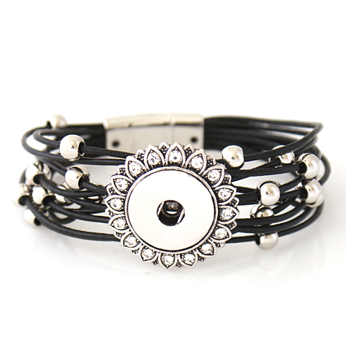 Snap Jewelry Magnetic Leather Bracelet - Black Beaded Strands