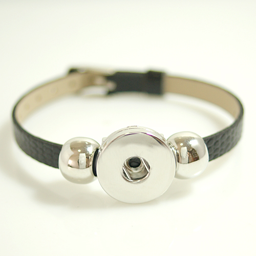 Snap Jewelry Leather Belt Bracelet - Black XS to L