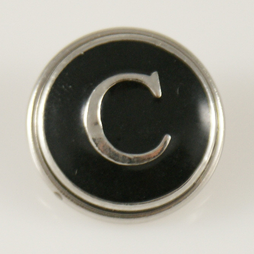 Snap Jewelry Alphabet Letter C - Black Enamel
