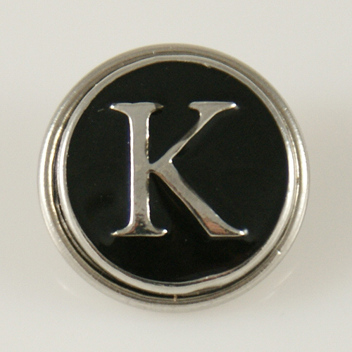 Snap Jewelry Alphabet Letter K - Black Enamel