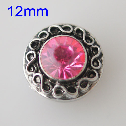 Mini Snap 12mm - Rhinestone Faceted Pink