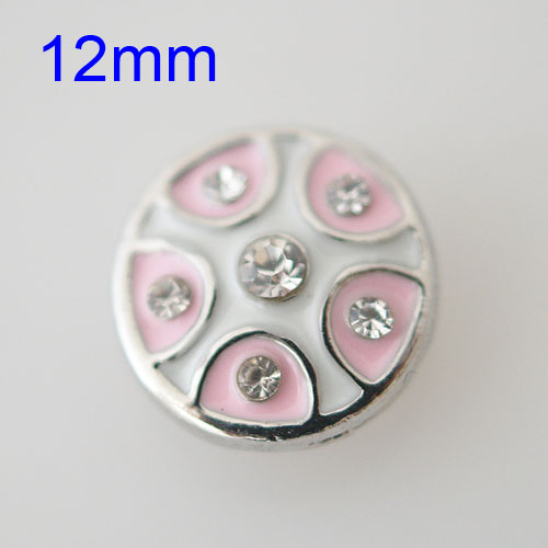 Mini Snap 12mm - Enamel White, Pink and Rhinestones