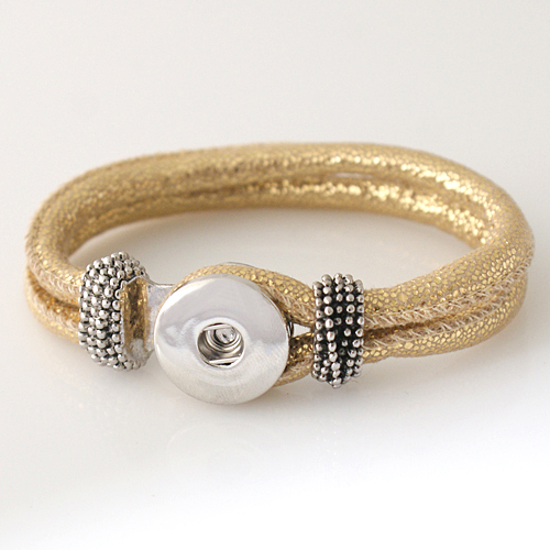 Snap Jewelry Bracelet PU Leather Hook & Loop - Sparkle Gold