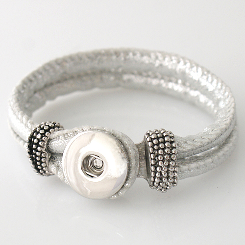 Snap Jewelry Bracelet PU Leather Hook & Loop - Sparkle Silver