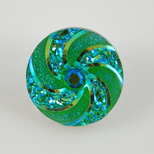 Snap Jewelry Resin - Iridescent Spiral - Green