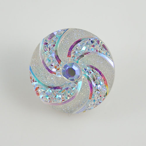 Snap Jewelry resin - Iridescent Spiral AB White