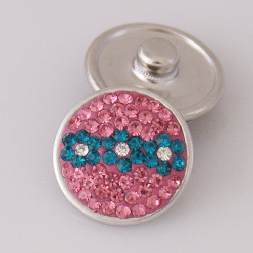 Snap Jewelry Crystal - Flower - Pink and Teal