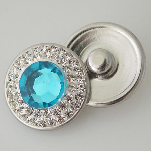 Snap Jewelry Crystal - Center Rhinestone - Light Blue & Clear