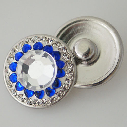 Snap Jewelry Crystal - Center Rhinestone - Clear & Blue