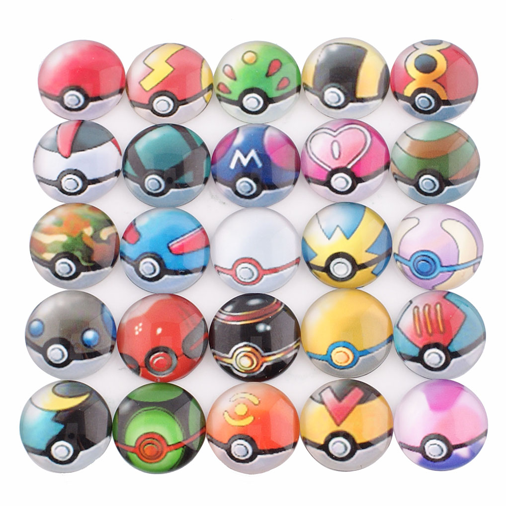 Snap Glass Jewelry - Pokeman Ball Mix