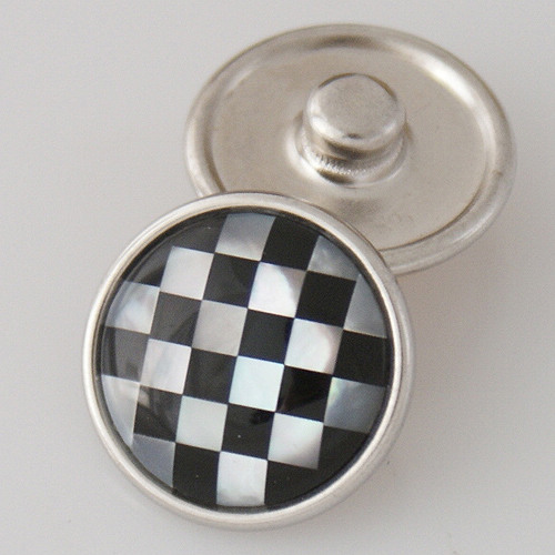 Snap Jewelry Abalone - Mother of Pearl & Black Nascar Check Flag