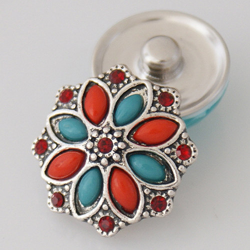 Snap Jewelry Stone - Flower & Rhinestone - Red & Blue