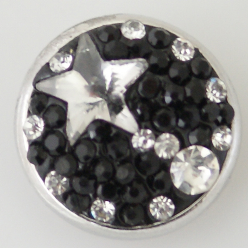 Snap Jewelry Crystal & Stone -Star Black & Clear