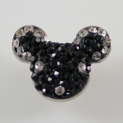 Snap Jewelry Rhinestone - Mouse Black